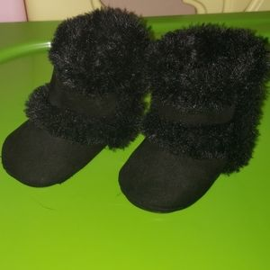 Baby Girl Fur Booties Size 1